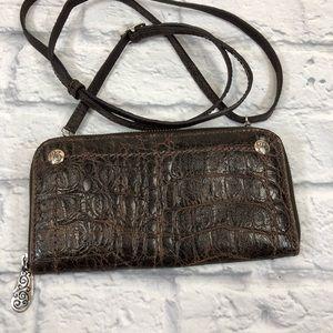 Brighton crossbody wallet purse. Brown leather